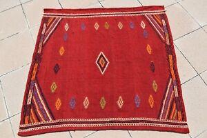 Custom Size Nomads Sofreh Kilim 52'' X 49'' Vintage Anatolian Sofreh Kilim Rug