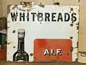 Old Vintage Whitbread LONDON STOUT Pale Ale Enamel Porcelain Ad. Sign Board
