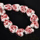 10pcs 14mm Heart Geramic Loose Spacer Beads Jewerly Making Red Spring