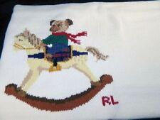 Ralph Lauren Rocking Horse Teddy Bear Baby Blanket 100% Cotton Knit Ivory