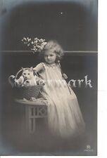 Vintage long hair cat real photo postcard beautiful blonde girl circa 1910
