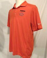 Nike Chicago Bears Golf Shirt Mens L Dri Fit Tour Performance Orange