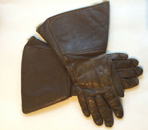 Vintage Women's Fur Lined  Brown Leather Gauntlet Gloves Small 7.5-8