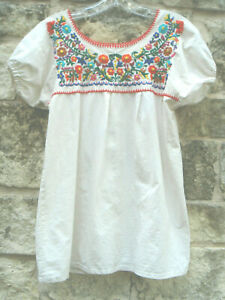 Vintage Mexican Huipal-Style Blouse S Natural Cotton Colorful Floral Embroidery
