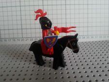 VINTAGE LEGO - CASTLE - BLACK KNIGHTS BLUE DRAGON MINIFIG FIGURE & BLACK HORSE