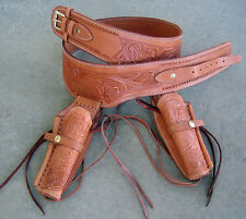 NEW! TAN Leather Double Western SASS Cowboy Holster Cowboy Rig 38/357 cal b