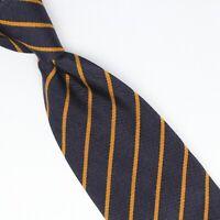 John G Hardy Mens Silk Necktie Black Gold Stripe Soft Twill Weave Woven Tie