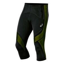 Asics Men's Running Tights Leg Balance Knee High Tights - Black/Green - New