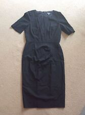 SEXY SMART DKNY DONNA KARAN BLACK WOOL MIX MIDI DRESS SHORT SLEEVE SHIFT STYLE