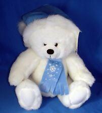 "Christmas Teddy Bear Stuffed Animal Jointed Legs Head Bestway Toys 9.5"" White"