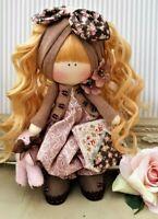 Rag doll Handmade in the UK Cloth Tilda doll Rag Ooak doll  BELINDA 8 inch tall