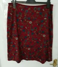 ❤ SEASALT CORNWALL Size 14 Raspeberry/Burgundy Navy Floral Pixie Skirt Cotton