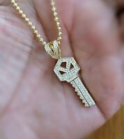 1 Ct Key Pendant with Diamonds Yellow Gold Solid Sterling Silver Necklace gifts