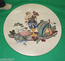 Table Top Marvelous Marble Inlay Pietra Dura Antique Vintage Decorative Art