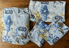 Pottery Barn Kids Star Wars FULL Flat Fitted Sheet Set 2 Pillowcases AS IS