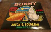 "EVIL ""BUNNY"" Brand YAM CRATE LABEL SUNSET LOUISIANA  vintage Aryon Boudreau Rare"