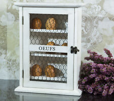 French Farmhouse Rustic Wooden Egg Cupboard Box House Shabby Chic Storage White