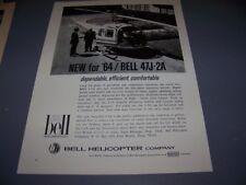 VINTAGE..1964 BELL 47J-2A HELICOPTER ..ORIGINAL SALES AD...RARE! (609N)