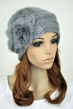 JM39 Rabbit Fur & Wool Lady Winter Hat Beanie Cap Cute Pearls Flower ALL GREY
