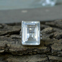 Natural Clear Rock Crystal Gemstone 925 Sterling Silver Handmade Large Gift Ring