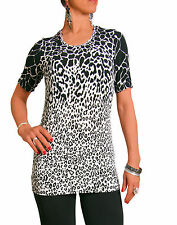 Women's Scoop Neck Animal Print Polyester Hip Length Tops & Shirts