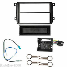 VW EOS 2006 ONWARDS BLACK SINGLE OR DOUBLE DIN FITTING KIT ADAPTOR FASCIA