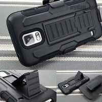 Black Armor Heavy Duty Holster Stand Case Cover for Samsung Galaxy S5