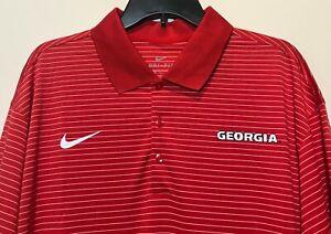 New Georgia Bulldogs Nike Men's Dri-fit Polo Shirt Red Stripes UGA Size 2XL NCAA