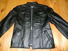 1980's Women's Unknown Brand Black Leather Jacket est sz 5/6 good condition
