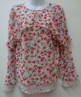 White House Black Market 4 Small Pink Top Shirt Blouse Floral Sheer Ruffle Women