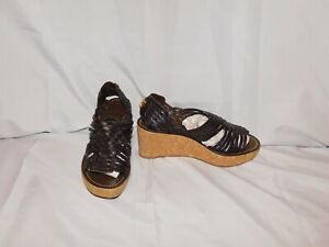 TORY BURCH BROWN LEATHER STRAPPY WEDGE HEELS SHOES SIZE 8 1/2M