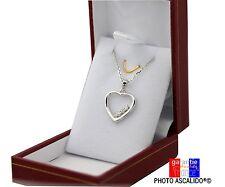 Pendentif coeur brillants avec chaine pour saint valentin en argent massif boite