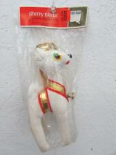 Vintage Christmas Shiny Brite Felt Reindeer Ornament IOP Japan 1950's White