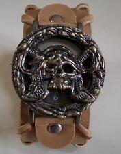 Men's Light brown leather band biker Style Skull dial fashion wrist watch