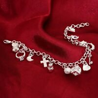 925 Fashion Silver Charm Bracelet Crystal Charms Chain Link Jewery lovely