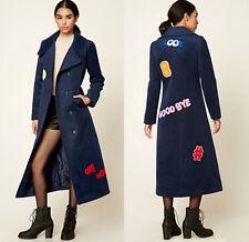 Patches Graphic Fleece Duster Long Blue Coat Jacket women sz MEDIUM patch emoji