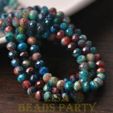 New 50pcs 6mm Glass With Color Coated Rondelle Loose Colorful Beads Lake Blue