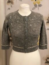 RIVER ISLAND GREY BEADED BOUTIQUE COLLECTION CROPPED CARDIGAN - UK 8