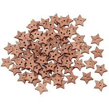 100PCS Craft Scrapbook Buttons Wooden Star Shape 2 Holes
