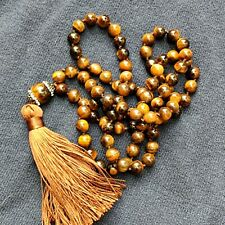 lunga collana  pietre dure occhio di tigre - long necklace with natural stones