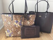 Coach F32084 Reversible City Tote Floral Bouquet Khaki Multi