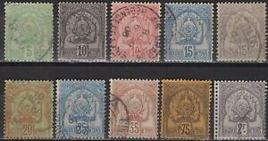 Tunisia - Definitives - Set of 10 - Coat of Arms - Mi 18~27 - 1893