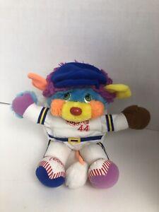 "Vtg 1986 Popples Plush Sports Popples Baseball Softball Pitcher #44 Large 11"""