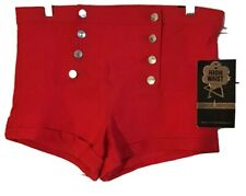 Red Sailor Shorts Pin-up High Waist Button Front Size 11