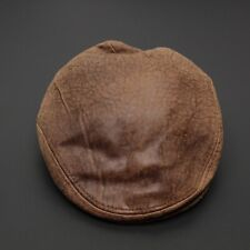 Balke Nature Style Mens Leather Flat Cap Hat 7 1/4 Distressed Brown Cabby Golf