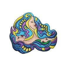 ID 3411 Ocean Surf Three Siren Women Faces Psychedelic Iron On Applique Patch