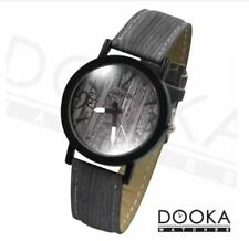 DOOKA Lang Di Unisex Grey Oak Wood Design Leather Strap Watch WD893