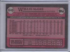 WILLIE McGEE 1989 Topps Blank Front Error #640 (C448)