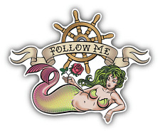 "Mermaid Follow Me Old School Tattoo Car Bumper Sticker Decal 5"" x 4"""