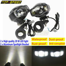 2x Motorcycle 20W LED Spot Light Headlight DRL Fog Lamp + CNC Bracket Waterproof